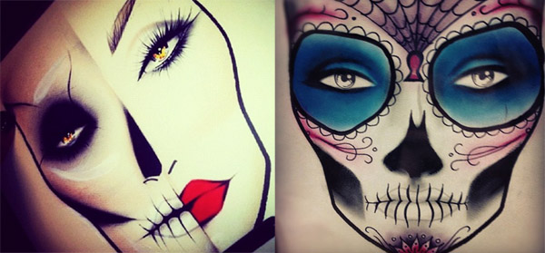 Sugar skull makeup face chart