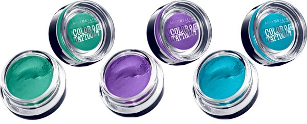 Maybelline Color Tattoo  Edgy Emerald | Painted Purple | Tenacious Teal