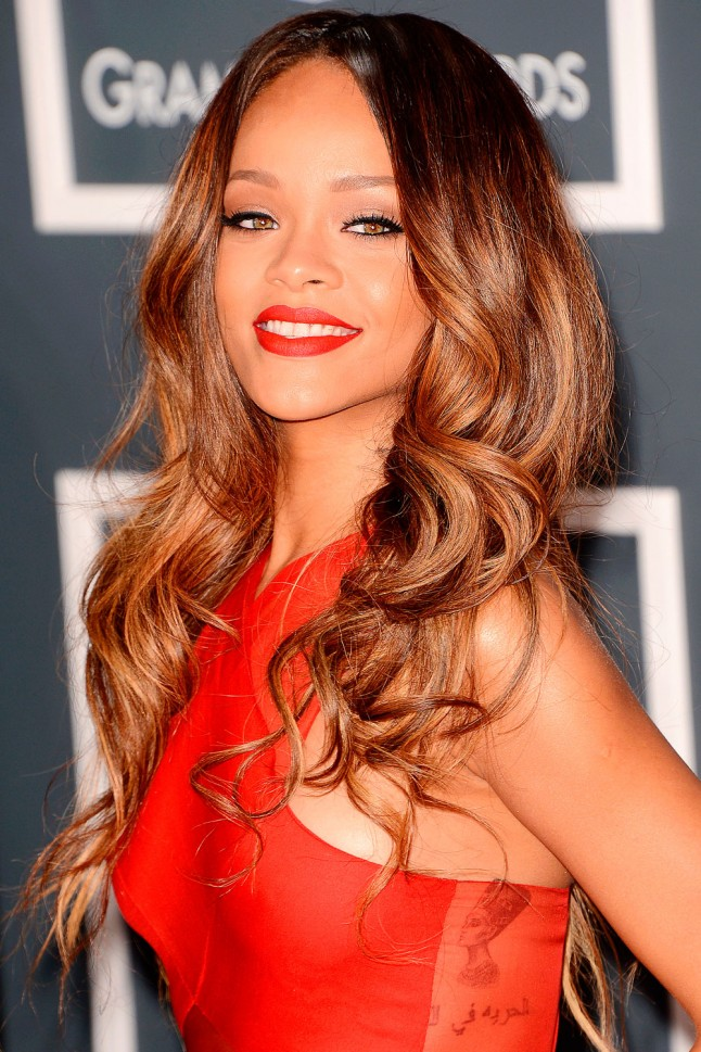 red hair balayage rihanna